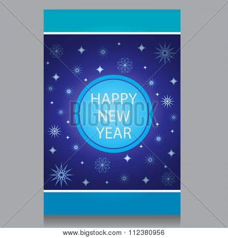 Happy New Year flayers with snowflakes on a blue background
