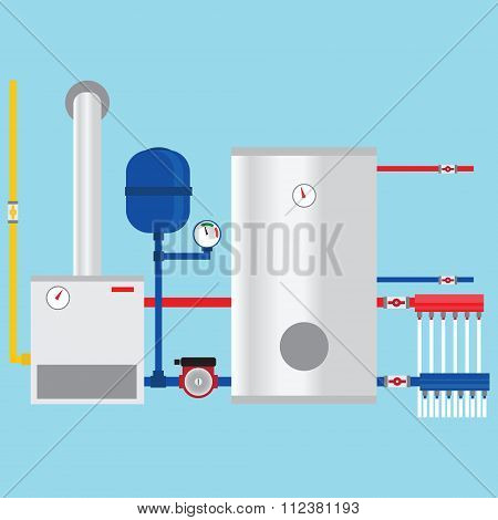 Gas Boiler In The Cottage. Vector.