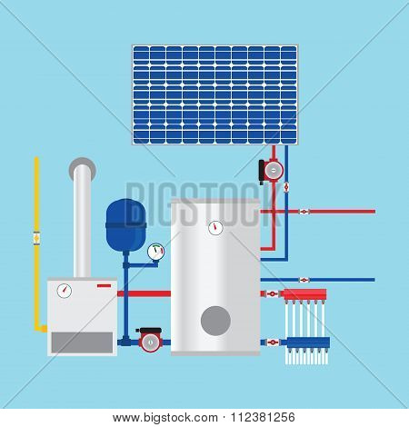 Gas Boiler And Solar Panels. Eco-house. Vector.