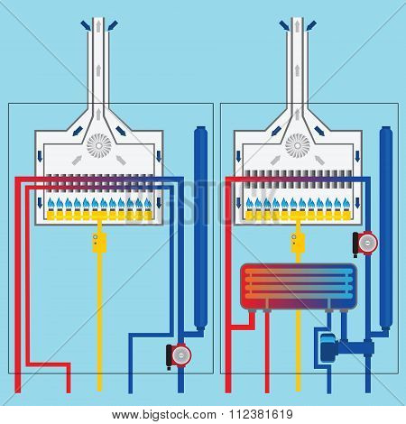 Gas Boilers With Heat Exchanger. Vector.