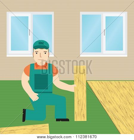 Worker Laying Laminate.