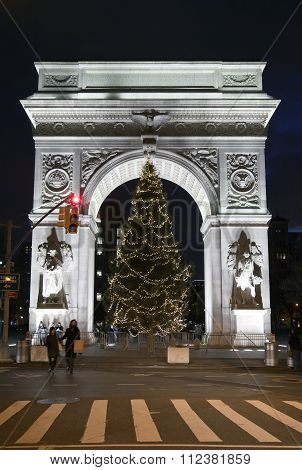 Washington Square Park During Christmas