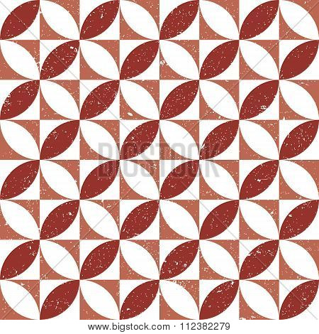 Seamless background image of vintage worn out red round square geometry pattern.