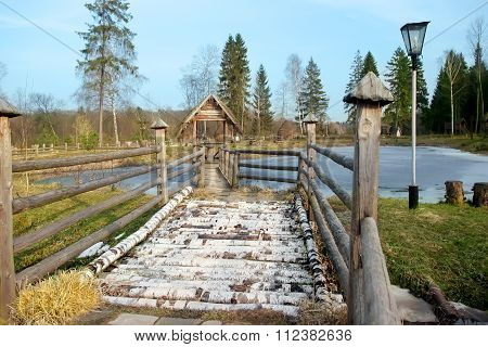 Wooden Bridge In Park. Spring Scenic