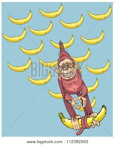 The symbol of year - a monkey with bananas, hurries to you.