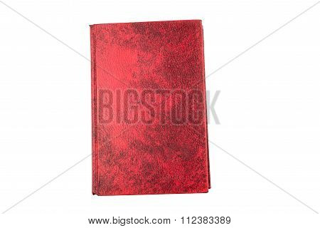 Red Hard Cover Book, Blank Page Isolate