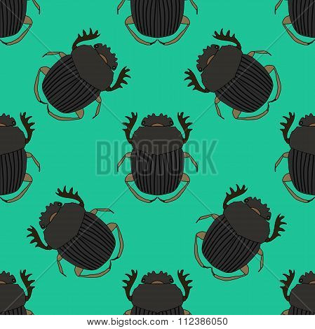 Seamless Pattern With Dor-beetle .geotrupidae    Hand-drawn Dor-beetle . Vector