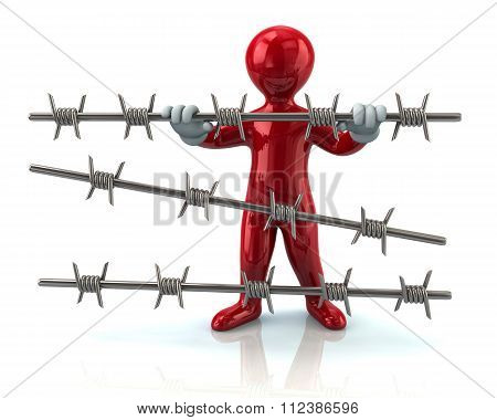 Red Refugee And Barbed Wire