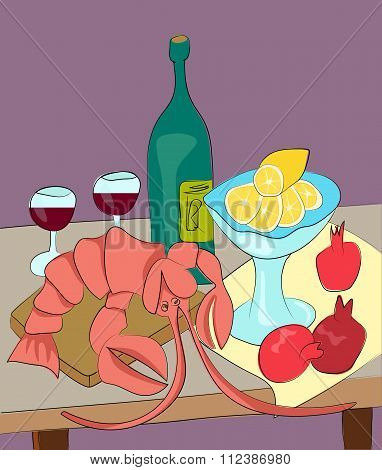 Lobster With Wine, Lemon And Pomegranates Still Life With Enjoy