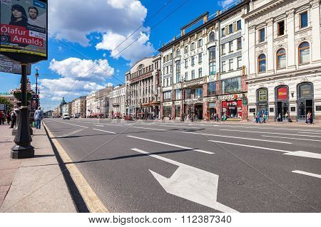 Nevsky Prospect In The Summer Sunny Day. Saint-petersburg, Russia