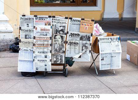 Sale Russian Newspapers On Nevsky Prospekt In St. Petersburg, Russia