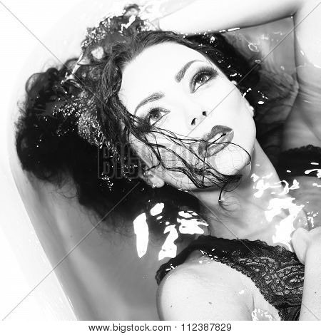 Woman Portrait In Bath Tab