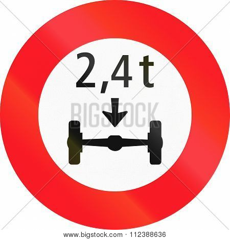 Road Sign Used In Switzerland - Axle Weight Limit