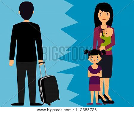 Divorce. Man left leaving wife and small children. Vector illustration