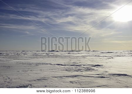 abstract Arctic landscape. snow plain and sky