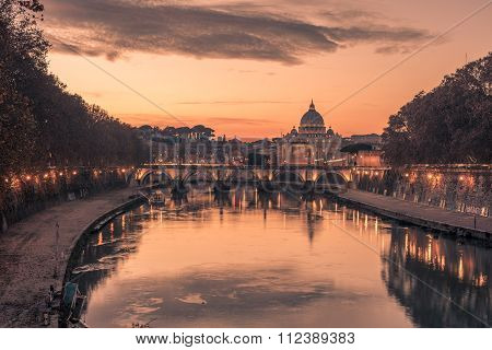Rome, Italy: St. Peter's Basilica and Saint Angelo Bridge