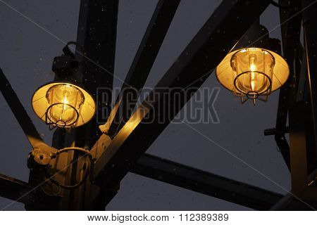 two street industrial lamps closeup