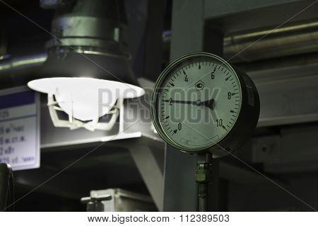 industrial manometer and led night lamp closeup
