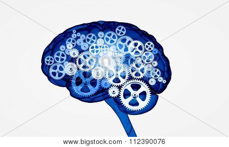 Concept of human intelligence with human brain on white digital background