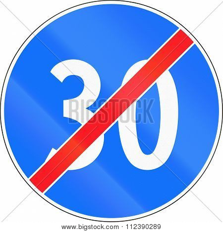 Road Sign Used In Switzerland - End Of Minimum Speed