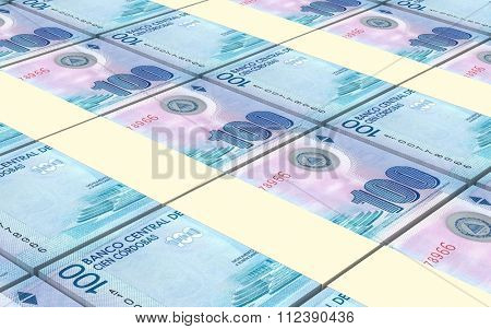 Nicaraguan cordoba bills stacks background. Computer generated 3D photo rendering.