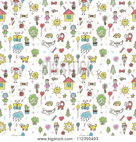 Hand Drawn Funny Children Drawings Color Seamless Pattern. Doodle Children Drawing Background