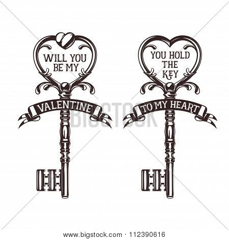 Set of heart shaped keys with quotes related to valentines day. Vintage vector illustration.