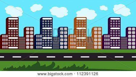 Cityscape, abstract background with skycrapers, blue sky, road and grass.