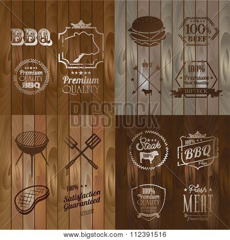Vintage BBQ Beef menu restaurant symbol on Wooden striped fiber textured background