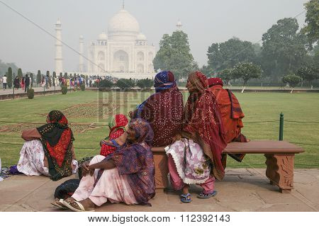 Local people visiting Taj Mahal.