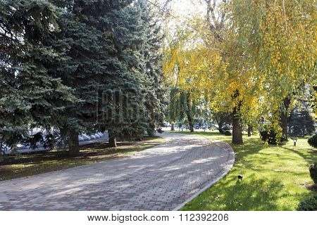 View Of A Park In Krasnodar, Russia. Under The Koppen Climate Classification, Krasnodar Has A Humid