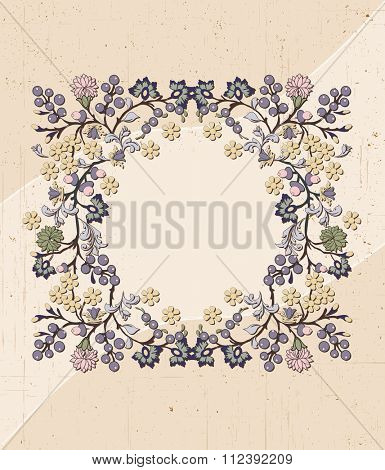 Vintage invitation card with ornate elegant retro abstract floral design, multicolored flowers and leaves on scratch textured beige background with text label. Vector illustration.