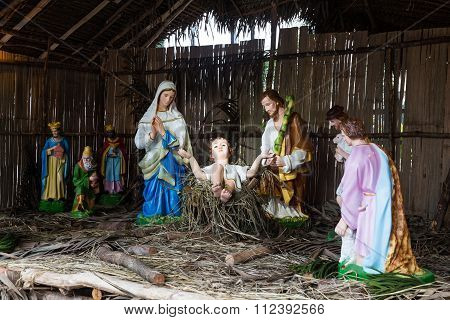 Christmas Decorative Creche With Holy Family And The Wise Men