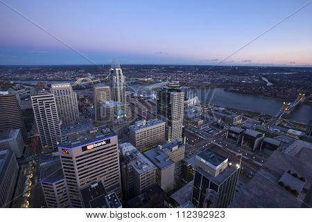 CINCINNATI, OHIO - DECEMBER 18, 2015:  The view from the public observation deck on the Carew Tower shows the skyline of Cincinnati along the Ohio River.
