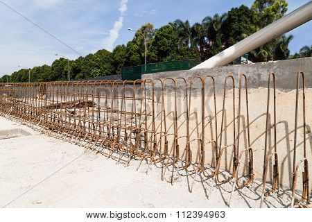 Steel Rebar And Concrete Divider Being Constructed At Construction Site