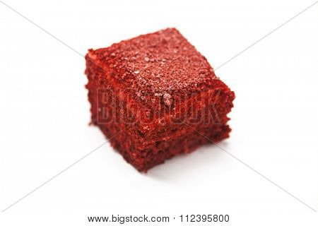 Dukan Diet. Red Velvet, fresh delicious diet cake at Dukan Diet on a white background