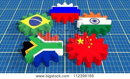 BRICS union members national flags on gears