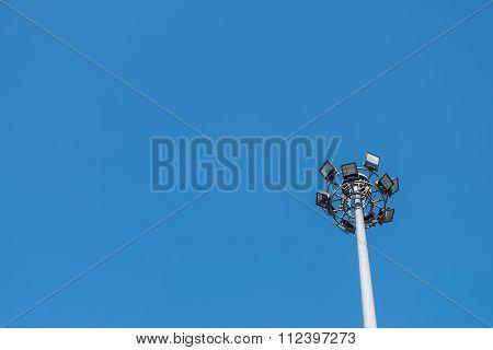 Spotlight Tower With Blue Sky, Copy Space