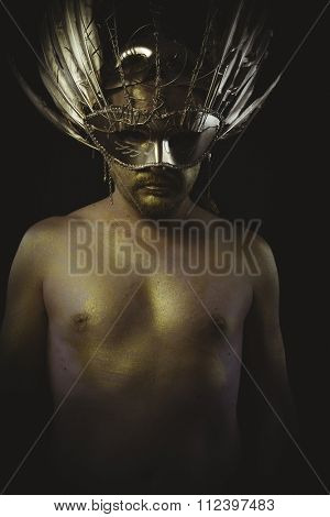 security, warrior helmet and gold feathers, giant iron sword