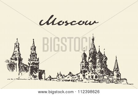 Moscow Russia Red square Kremlin drawn sketch
