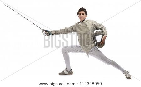 Teen fencer isolated on white background.
