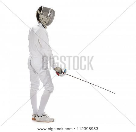 Fencing athlete isolated in white background