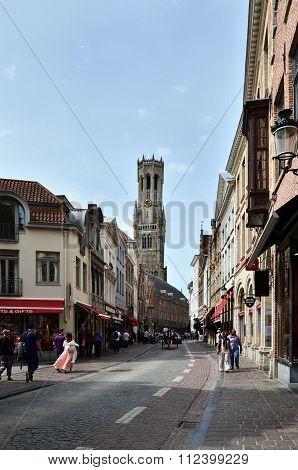 Bruges, Belgium - May 11, 2015: People Walking In Bruges City