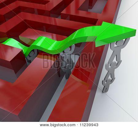 Equipo de elevación flecha sobre las paredes del laberinto