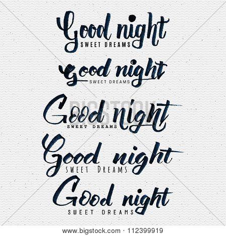 Good night sweet dreams hand lettering