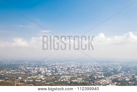 City view with hazy environment in winter, at Chiang Mai, Thailand