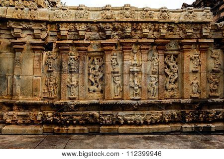 Artistic wall of an ancient South Indian Hindu temple monument