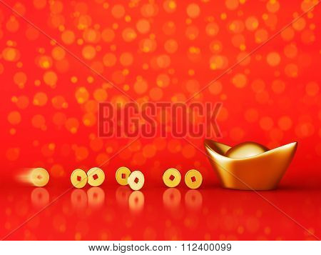 Gold Coins Rolling Towards Gold Sycee - Yuanbao