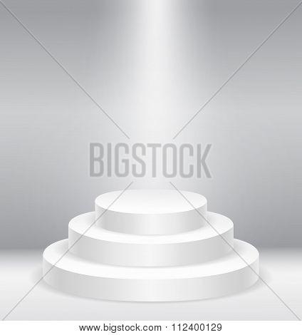 Illuminated round stage podium