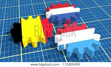 Politic And Economic Union Members National Flags. Benelux